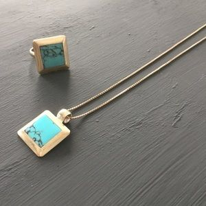 Silver 925 turquoise ring and necklace